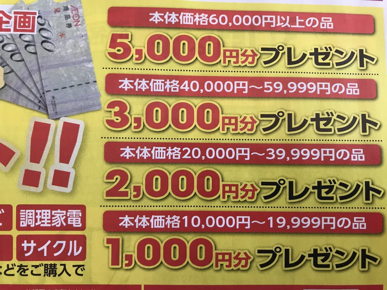 イオン大井店で商品券プレゼント